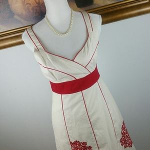 Floreat Cream Dress Red Embroidered Flowers